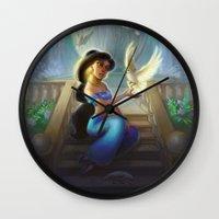 jasmine Wall Clocks featuring Jasmine by KATIE PAYNE