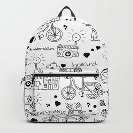 Hello Amsterdam Dutch Hipster travel icons bike and windmill Backpack