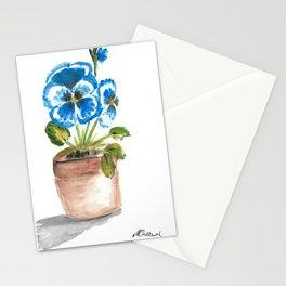 Blue pansy flowerpot Stationery Cards