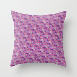Hungry Hippo Pattern by Holly Shropshire Throw Pillow