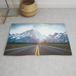 Mountain Road - Grand Tetons Nature Landscape Photography Rug