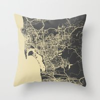 san diego Throw Pillows featuring San Diego Map by Map Map Maps