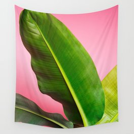 Banana Palm Leaves Pink Background Wall Tapestry