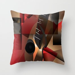 Man in red playing the guitar Throw Pillow