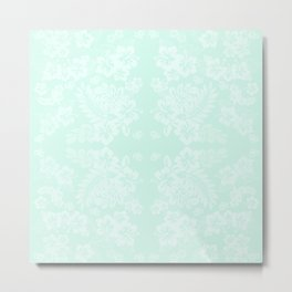 Celadon Mint Green Pastels Tropical Hibiscus Flowers Pattern Metal Print