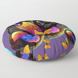 COLORFUL FUN  BUBBLES & YELLOW BUTTERFLIES PURPLE FANTASY Floor Pillow