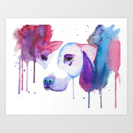 Watercolour Pitbull Art Print