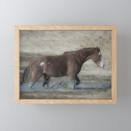 Mustang Getting Out of a Muddy Waterhole the Slow Way painterly Framed Mini Art Print