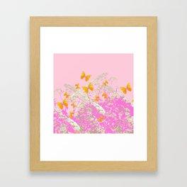 GOLDEN BUTTERFLIES IN PINK LACE GARDEN Framed Art Print