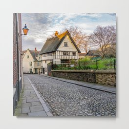 The medieval cobbled stone street of Elm Hill, Norwich Metal Print