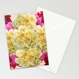 PINK WHITE RED ROSES PATTERN Stationery Cards