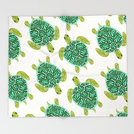 Sea Turtle – Green Palette Throw Blanket