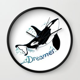 Dreamer Orca (Amber Marine, Indie Wildlife Artist Official Logo, Copyright 2015) Killer Whale Art Wall Clock