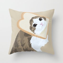Breadface Cat Throw Pillow