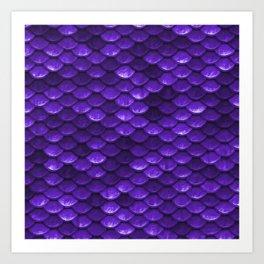 Beautiful grape purple mermaid fish Scales Art Print