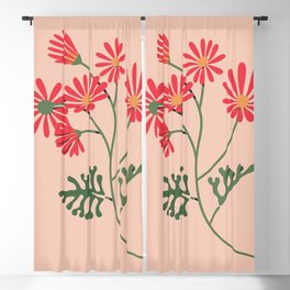 Colourful Plant - Red Flowers Blackout Curtain