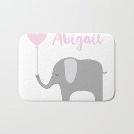 Abigail - Nursery Pink Grey Elephant Heart Bath Mat