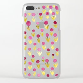 Dot flowers -  yellow green and garnet Clear iPhone Case