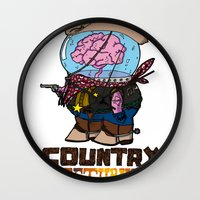 returns Wall Clocks featuring country returns by benjamin chaubard