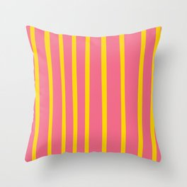 Pink and Yellow Stripes Throw Pillow