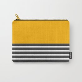 Half Striped Gray - Solid Yellow Carry-All Pouch