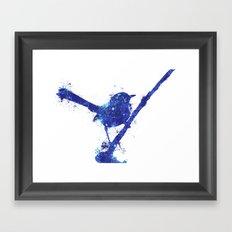 Fairy Wren Watercolour Splash Framed Art Print