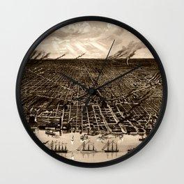 Detroit Michigan Bird's Eye Map Wall Clock