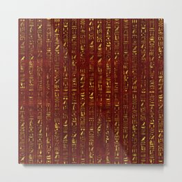 Golden Egyptian  hieroglyphics on red leather Metal Print