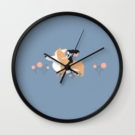 corgi ride Wall Clock