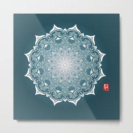 Mandala - Blue Metal Print