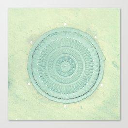 key lime polka dot coal hole cover (london) Canvas Print