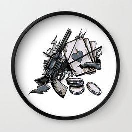 Straight Shooter Poker Revolver Wall Clock