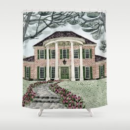 House With Tulips Shower Curtain