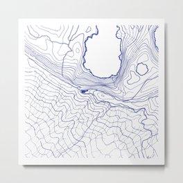 Secret places II - handmade blue map Metal Print