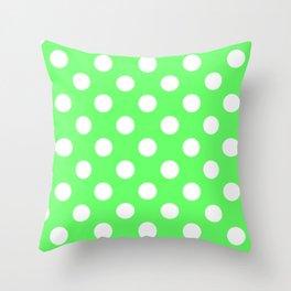 Screamin' Green - green - White Polka Dots - Pois Pattern Throw Pillow