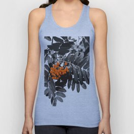 Red Rowan Berries In Black And White Background #decor #society6 Unisex Tank Top