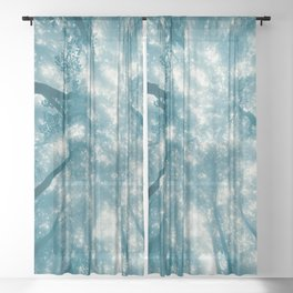 Smoky Mountain Summer Forest Teal - National Park Nature Photography Sheer Curtain