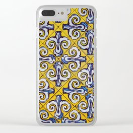 Ornament on tile drawing #Terrazzo #Blobs Clear iPhone Case