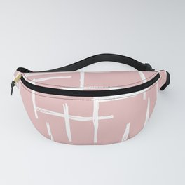 Soft pink abstract strokes grid modern minimal style pattern design Fanny Pack