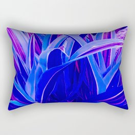 Exotic, Lush Fantasy Blue and Neon Pink Leaves Rectangular Pillow