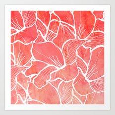 Modern white handdrawn flowers coral watercolor pattern Art Print