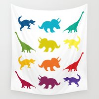 dino Wall Tapestries featuring Dino Parade by Catherine Holcombe