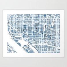Washington DC Blueprint watercolor map Art Print