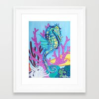 seahorse Framed Art Prints featuring Seahorse by Keith Loves Geisha