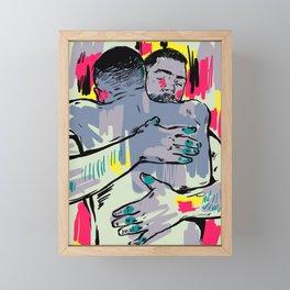 Hold me! Two Men Hugging Framed Mini Art Print