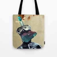 submarine Tote Bags featuring SUBMARINE by Momenti Riciclati