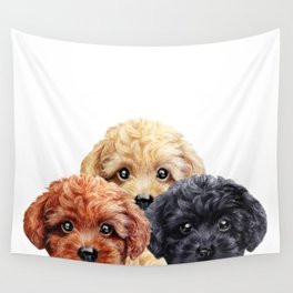 Toy poodle trio, Dog illustration original painting print Wall Tapestry