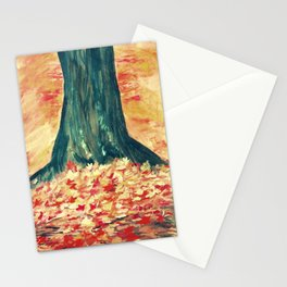 Red Leaves Autumn Fall Tree Impressionist Fine Art Stationery Cards