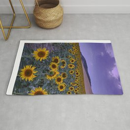 Sunflowers at blue hour.. Spain Rug