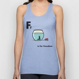 F is for freedom - the irony Unisex Tanktop